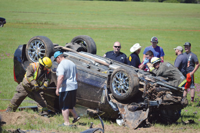 One injured in one-vehicle rollover