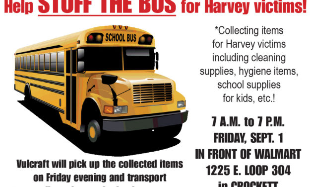 """Stuff the Bus"" for Harvey Victims in Crockett set Friday"